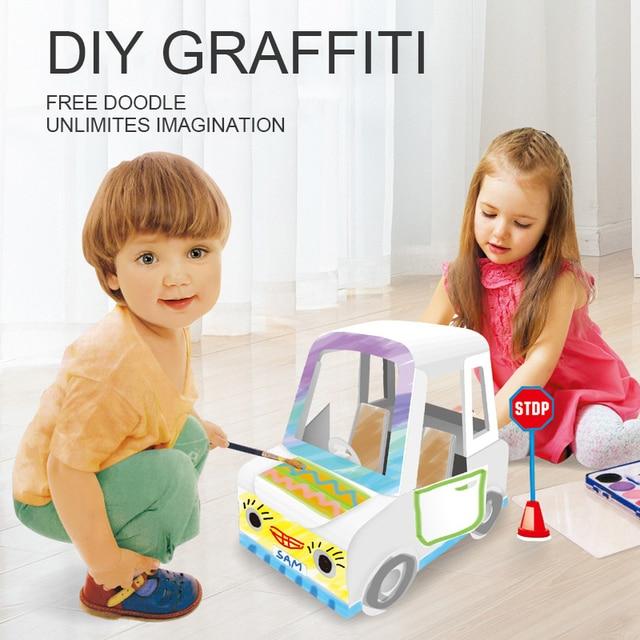 Diy Graffiti Car Paper Model 3D Puzzle Educational Toys Assembled Brain Teaser Puzzle Game Toys 1
