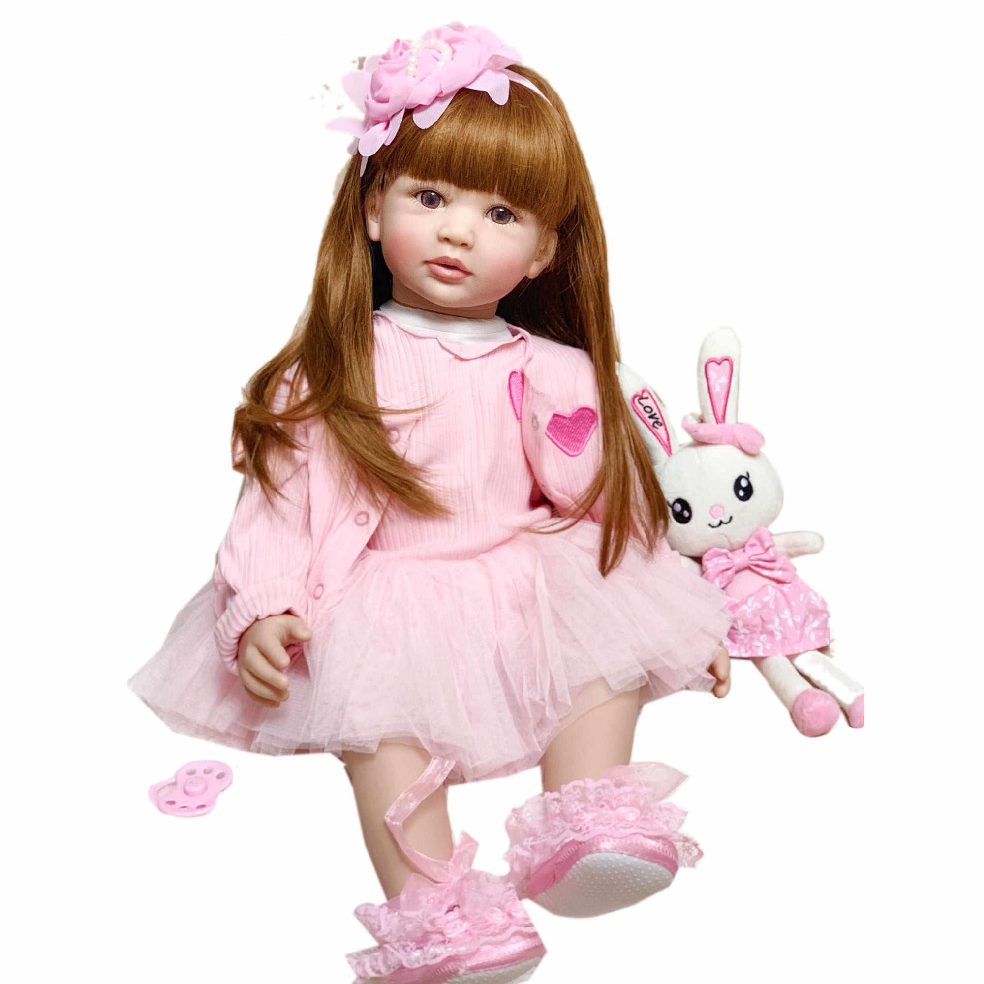 "24/"" Beautiful Simulation Baby Long-Haired Toddler Girl Lifelike Newborn Bebe Toy"