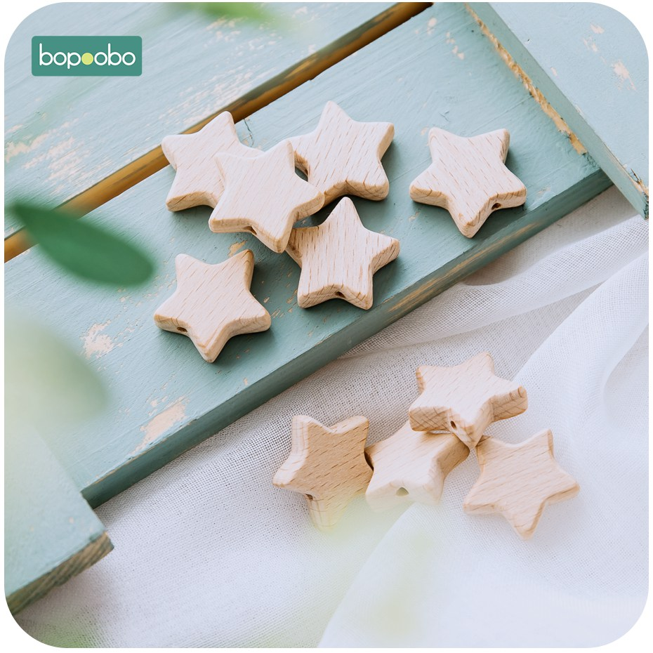 Bopoobo 10pc Beech Wooden Beads Teether Chewable Star Shape Beech Beads BPA Free Wood Teething Bead Baby Produuct DIY Crafts