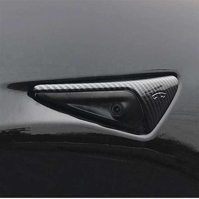 Фото 2 шт блестящие паттерн углеродного волокна боковые зеркала автомобиля