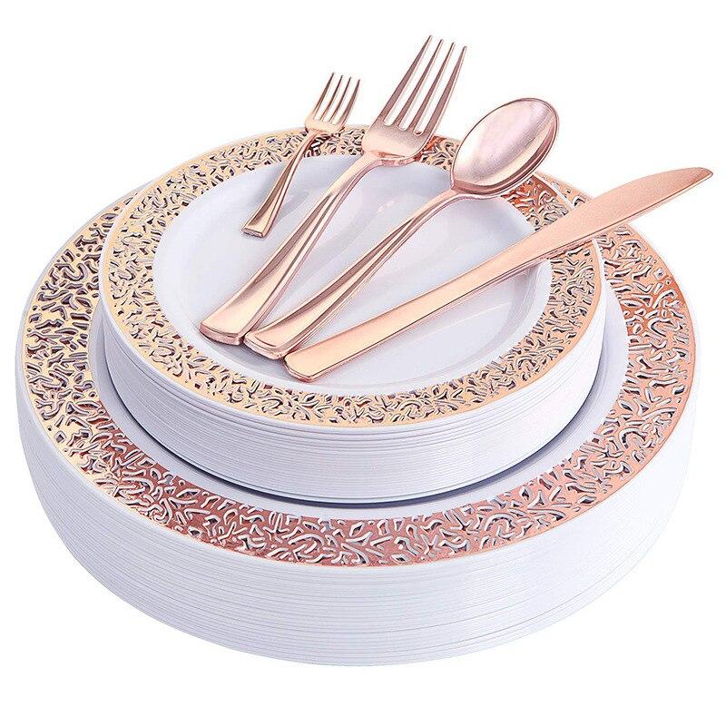 10 louça descartável festa de aniversário casamento restaurante suprimentos placa de plástico banhado a ouro copo faca e garfo colher