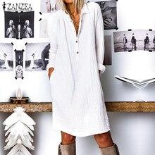 ZANZEA moda autunno bavero collo camicia lunga abito donna manica lunga bottoni cotone lino prendisole Casual lavoro allentato OL Vestido