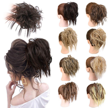 Messy Bun Hairpiece Bun-Extensions Updo Ponytail Rubber-Band Synthetic-Hair Elastic Women