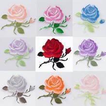 9 Цвета вышивкой в виде цветков розы; Пришить патч Аппликация