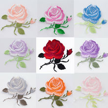 9Colors  Embroidery Rose Flower Sew On Patch Applique diy Crafts Sticker for Jeans Hat Bag Clothes Accessories Badges Supplies