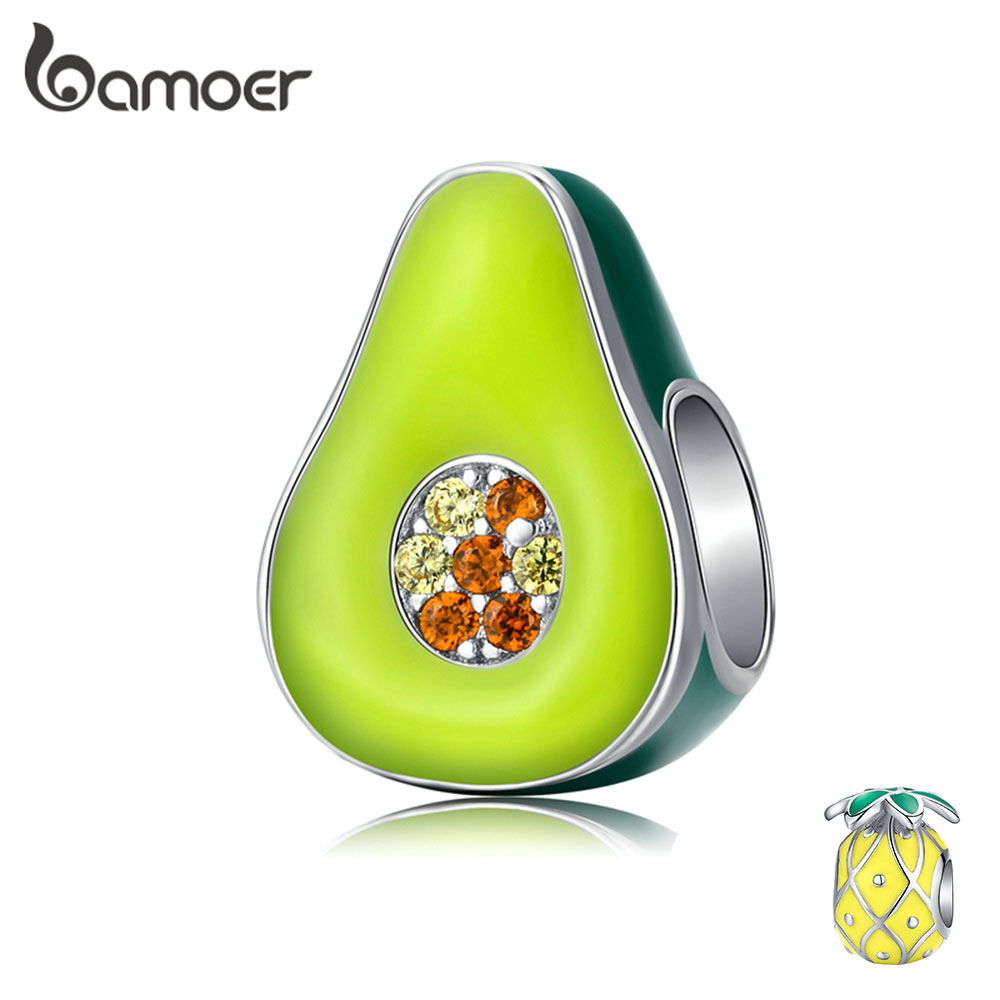 bamoer 925 Sterling Silver Jewelry Green Enamel Avocado Fruit Charm for Original Silver Bracelet 3mm Women Jewelry Making BSC129(China)