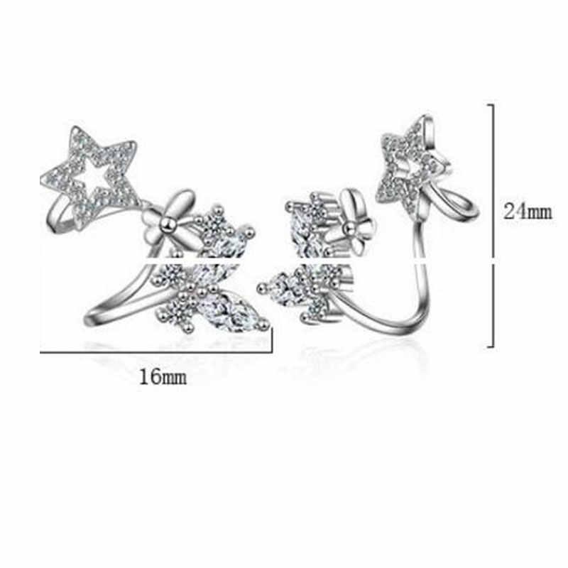 925 argent Sterling papillon étoile Micro pavé CZ Zircon oreille manchette Non percé pince sur boucles d'oreilles pour les femmes bijoux S-E331