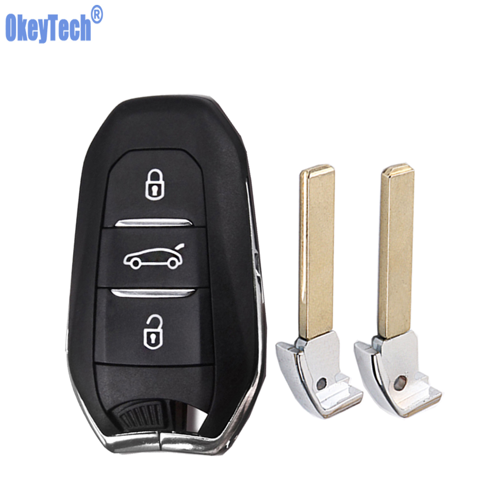 OkeyTech for <font><b>Citroen</b></font> 508 3008 2008 <font><b>C3</b></font> C4 C5 Berlingo Grand Picasso DS Smart <font><b>Key</b></font> Shell Remote Case Fob & Emergency Blade 3 Button image