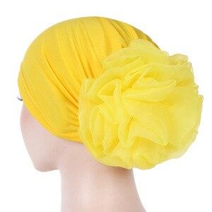 Image 3 - Helisopus Women New Muslim Pure Color Turban Big Ladiess Headband Ladies Elastic Headwear Covers Hair Accessories