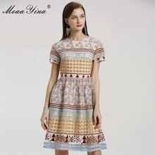 MoaaYina Mode Designer kleid Frühling Sommer frauen Kleid kurzarm Mesh Dreieck Punkte Stickerei Vintage Elegante Kleider
