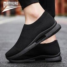 DAMYUAN – Chaussures de course légères et respirantes pour homme, baskets de running confortables sans lacets, mocassins de sport, jusqu'au 46, plusieurs couleurs au choix, semelle flexible et résistante, 2020