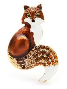 Brooches Gifts Rhinestone Fox Animal Wuli Baby Women Enamel for Party Causal Pins