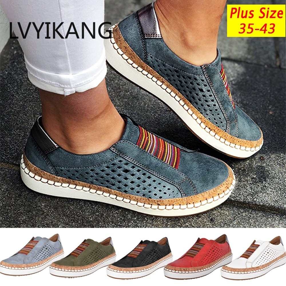 Dames Ademend Hollow Out Platte Loafers Vrouwen Casual Ronde Neus Flats Schoenen Comfortabele Sneakers Plus Size Chaussure Femme