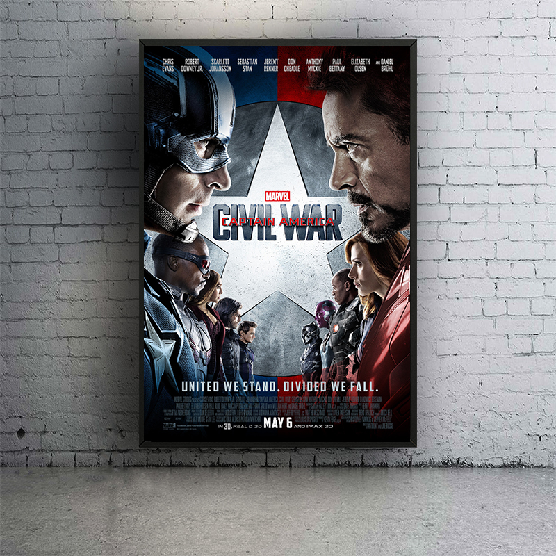 60x90cm Captain America Civil War Iron Man Marvel Movie Silk Posters Canvas Painting and Prints Wall Art for Bar Living Room image