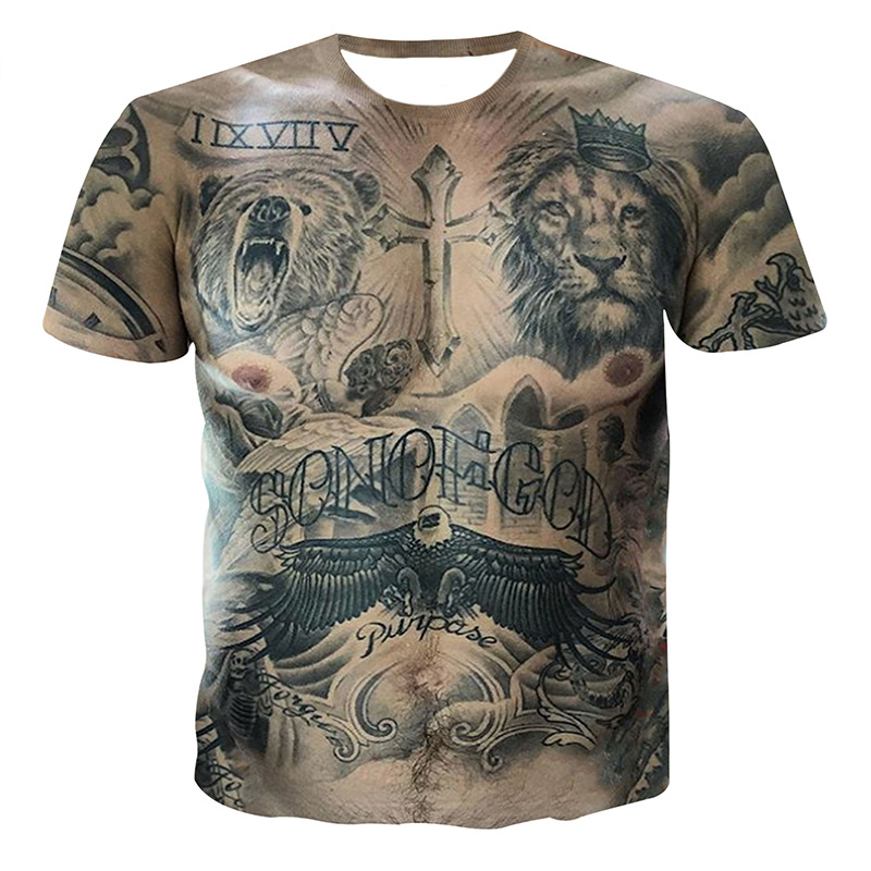 Sexy Tattoo Muscle T-shirt 3D Animal Printed Top Tees Male Summer Tshirt Hip Hop Camisetas Homme Streetwear Funny T Shirt