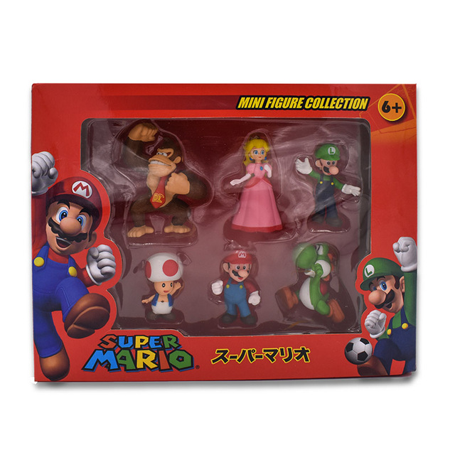 6Pcs/Set 3-7cm Super Mario Bros PVC Action Figure Toys Dolls Mario Luigi Yoshi Mushroom Donkey Kong In Gift Box Lovely Kids Gift 3