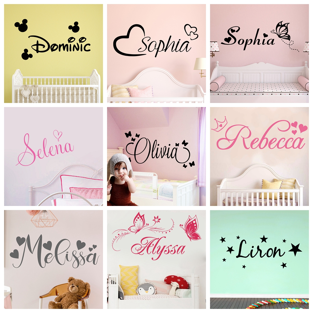 Butterfly Custom Name Wall Sticker Self Adhesive Vinyl Heart Stars Wallpaper For Nursery Babys Room Bedroom Decoration Decals