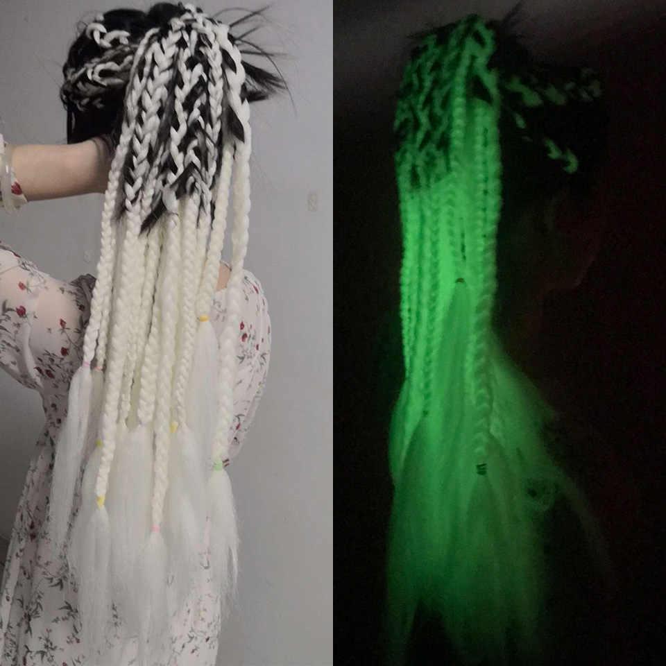 Весенний Солнечный свет 24 ''длинные пряди длинные, радужной расцветки синтетические плетеные волосы крючком волосы для наращивания огромные косички