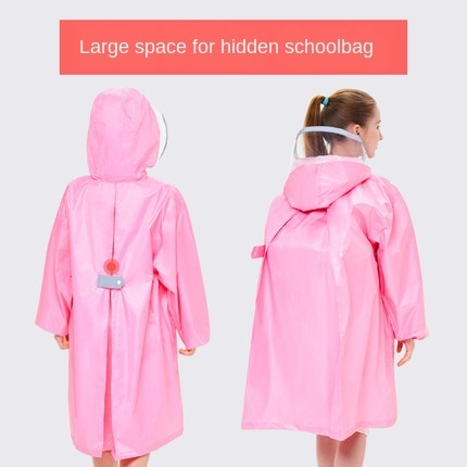 Pink Waterproof Rain Poncho Outdoor Raincoat Kids Space for Schoolbag Children Boy's Yellow Rain Coat Cover Hiking Impermeable 1