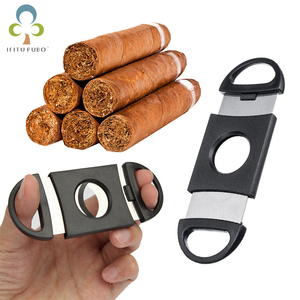1PC Portable Double Blades Cutter Knife Pocket Cigar Stainless Steel Scissors Shears Smoking Tool Accessories ZXH