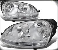 Sulinso Pair of Chrome Housing Headlights Assembly Lamps Replacement for Volkswagen VW Jetta Rabbit 05 10