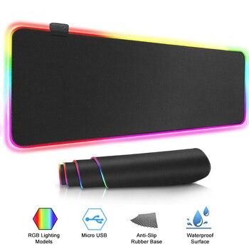 Игровой коврик для мыши с RGB-подсветкой, большой компьютерный коврик для мыши размера XXL, настольный коврик