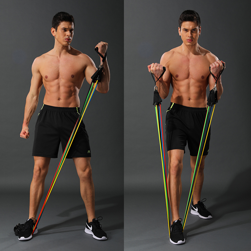 Quality 11 Pieces Resistance Bands Set Yoga Exercise Fitness Band Rubber Loop Tube Bands Gym Fitness Exercise Pilates 1