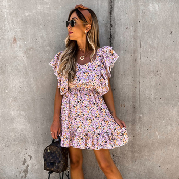 Summer Sexy Floral Print V Neck Ruffle Short Sleeve 2020 Women Dresses Backless A Line Mini Holiday Beach Dress Sundress Robe women dresses summer 2020 sexy v neck floral print boho beach dress ruffle short sleeve a line mini dress wrap sundress robe