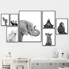 Скандинавский постер черно белые животные Полярный Медведь обезьяна