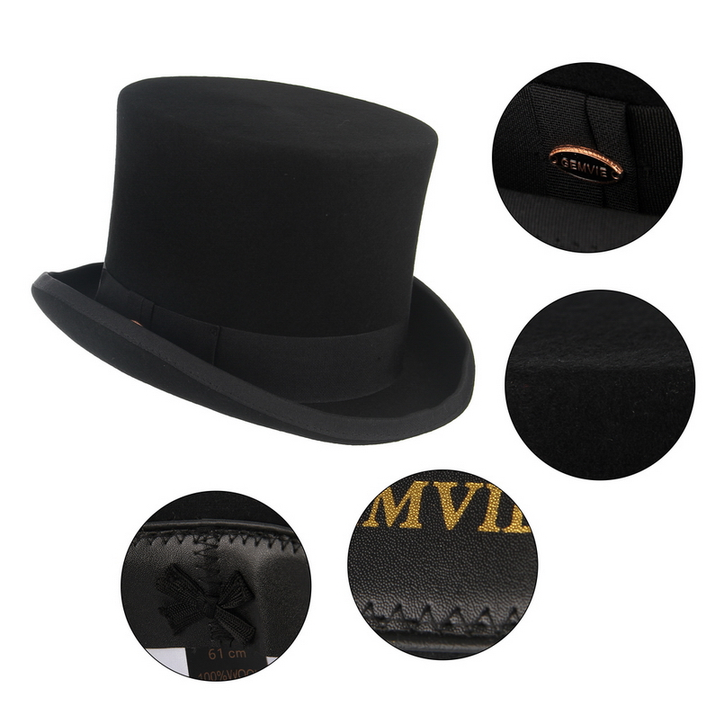 GEMVIE Top Hat 100/% Wool Satin Lined Men/'s Topper Costume Hat Magician Felt President Party Hat