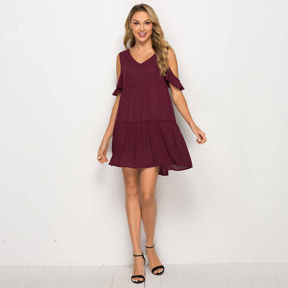 Women Chiffon Dress 2019 V-neck Summer Dresses off shoulder Sleeve Casual Loose MIni Dress Ladies Clothing Vestidos Plus Size