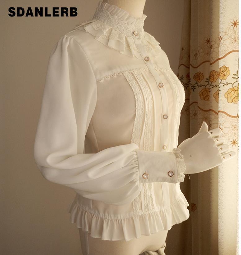 Grande taille 2XL! chemisier Vintage en mousseline de soie pour femmes chemise douce à manches longues lanterne à col haut avec couverture en dentelle