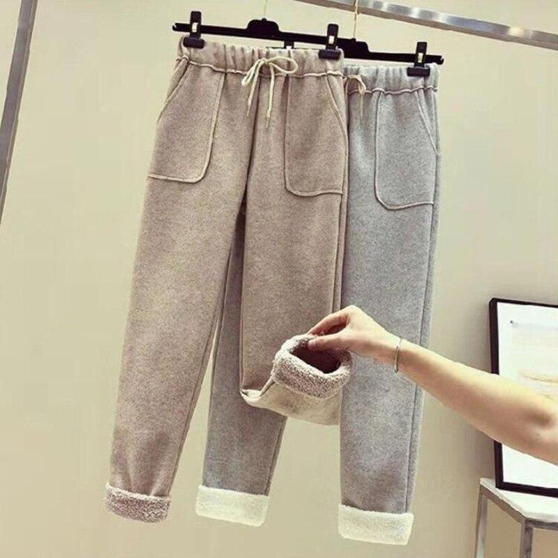 2019 New Autumn Woolen Women Pants Elastic Waist Thick Harem Pants Casual Pants Female Warm Trousers Plus Size 3XL