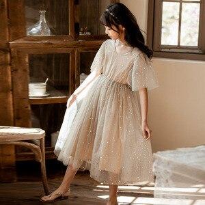 Image 2 - Yeni 2020 yaz örgü çocuk kız elbise çocuk dantel elbise kızlar için bebek prenses elbise yıldız çocuk sevimli elbise düğün, #8011