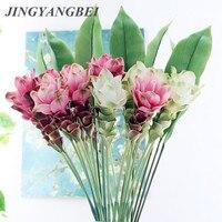 66cm Ingwer lotus Künstliche blumen Home hotel wohnzimmer Decor Hochzeit Dekoration Seide + Kunststoff flores fleur artificielle