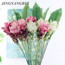 66cm Ginger lotus Artificial flowers Home hotel living room Decor Wedding Decoration Silk+Plastic flores fleur artificielle