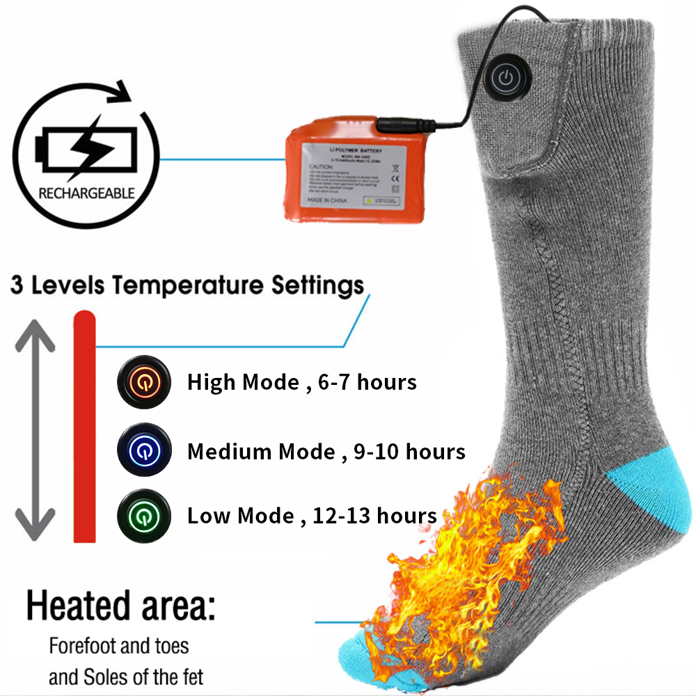 Electric Heated Socks With Rechargeable Battery For Chronically Cold Feet Large Size USB Charging Heating Socks