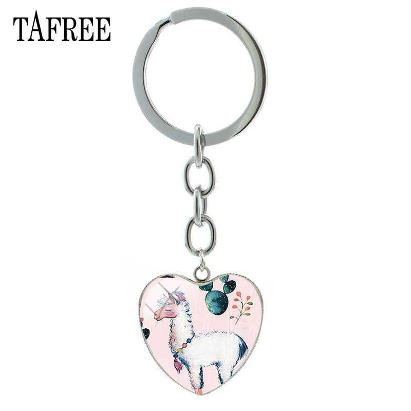 Tafree simplicidade cor sólida alpaca padrão pingente coração chaveiro para as mulheres encantador saco charme carro chaveiro metal chaveiro yt33