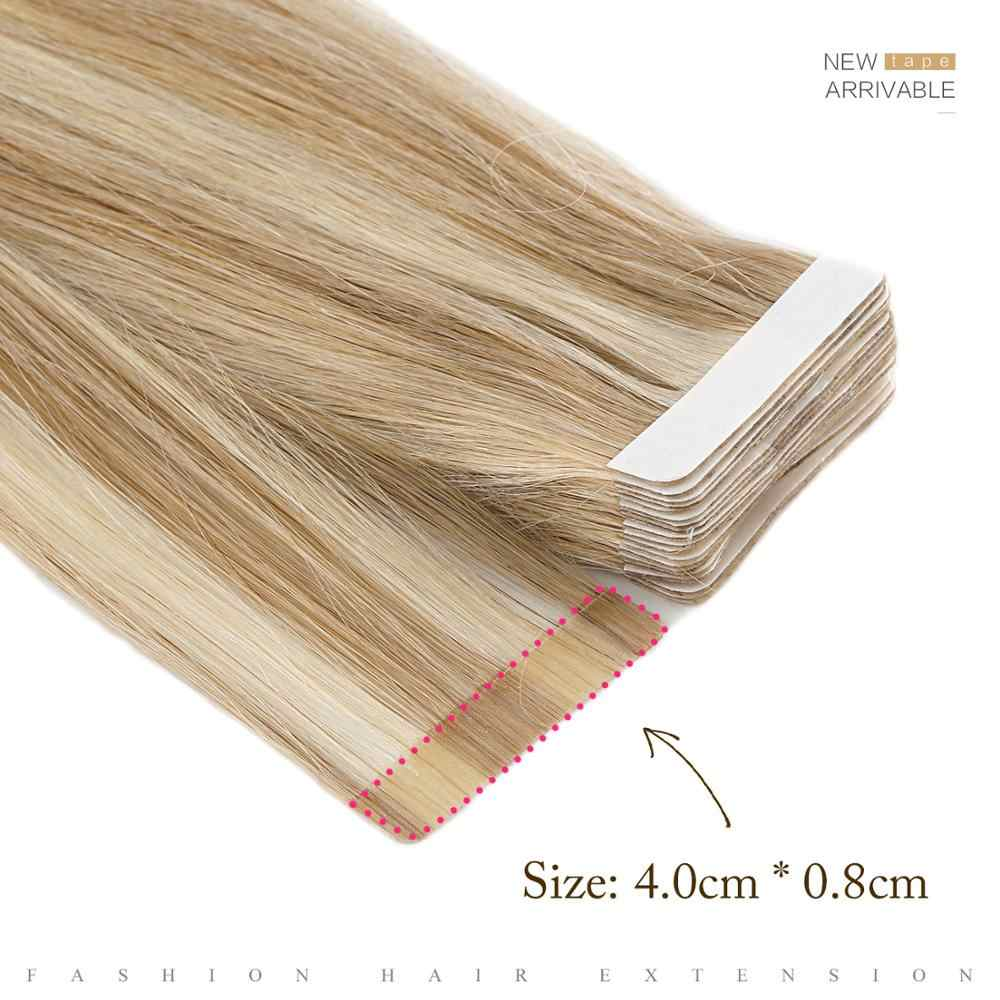 """Neitsi Straight Skin Weft Adhesive Hair Non-Remy Tape In Human Hair Extensions 16""""  20"""" 24"""" Double Side Tape"""