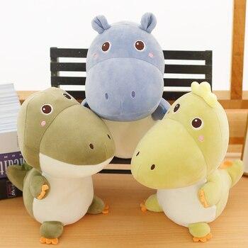 цена на 23cm High Quality Kawaii Hippo&Dinosaur&Crocodile Plush Toy Funny Soft Cartoon Animal Stuffed Doll Kid Accompany Birthday Gift