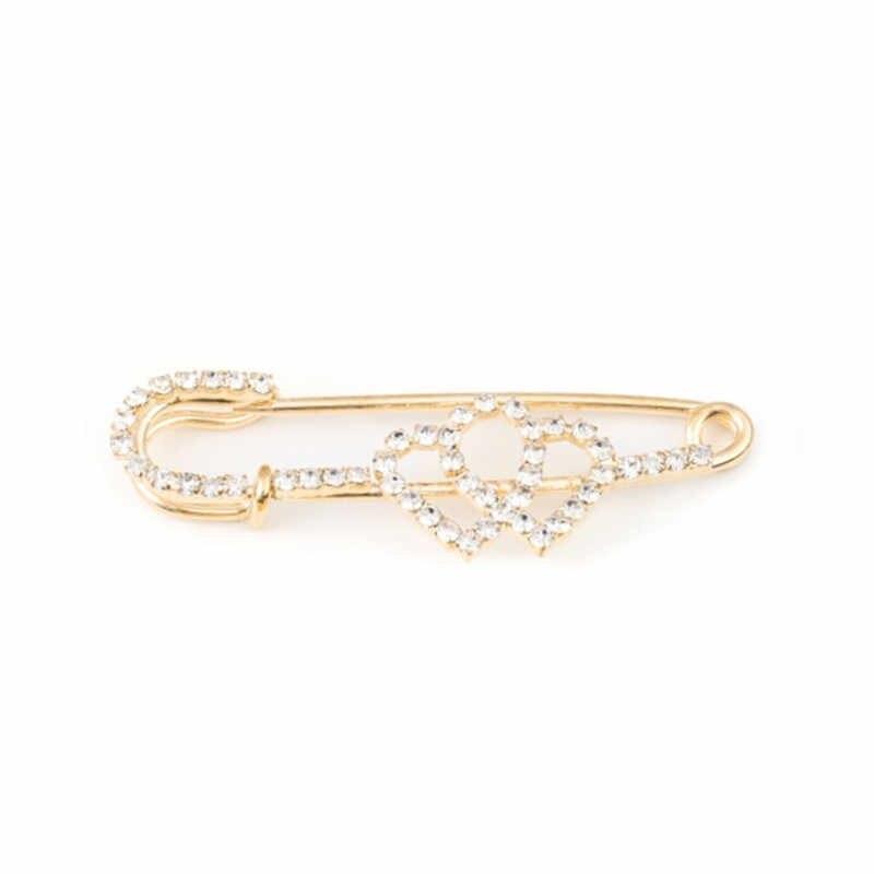 Zirkon Bros Pin Up Perhiasan untuk Wanita Sesuai dengan Topi Klip Gadis Paduan Pin Kristal Berlian Imitasi Bros Pin Fashion Perhiasan Hadiah