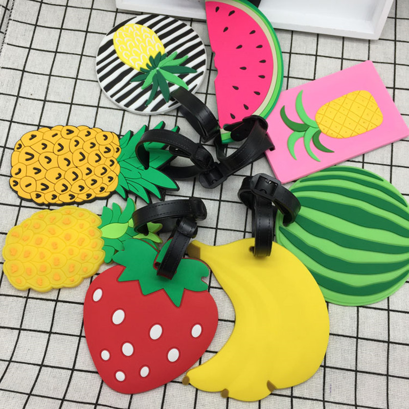 Fruit Cartoon Silicone Luggage Tag Suitcase ID Address Holder Boarding Tag Portable Label Travel Accessories