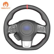 цена на MEWANT Black Genuine Leather Hand Sew Soft Wrap Car Steering Wheel Cover for Subaru WRX (STI)  Levorg 2015 2016 2017 2018 2019