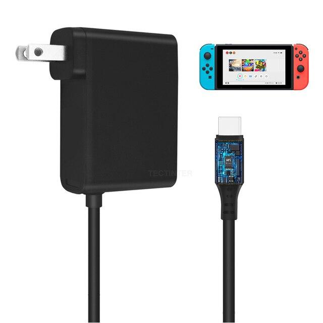 محطة إرساء لوحدات تحكم ألعاب Nintendo Switch NS ، قابس الاتحاد الأوروبي والولايات المتحدة ، محول تيار متردد ، شاحن 5 فولت 2.4 أمبير ، USB من النوع C ، محطة شحن