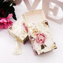 50 adet/grup düğün hediye paketi kağıt şeker kutusu çekmece şekli Favor kutusu seyahat şeker kutusu çiçekler düğün iyilik hediye kutusu