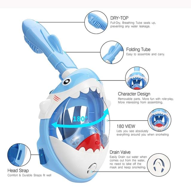 Scuba Diving Mask for Kids Full Face HD Anti Fog Anti-Leak Swimming Masks Children Snorkel Diving Masks Underwater Snorkel Masks