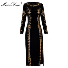 MoaaYina Fashion Autumn Women dress Long sleeve Luxurious Gold Line Embroidery Black Vintage Split Package buttocks Velvet Dress