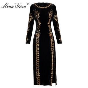 Image 1 - MoaaYina Fashion Autumn Women dress Long sleeve Luxurious Gold Line Embroidery Black Vintage Split Package buttocks Velvet Dress