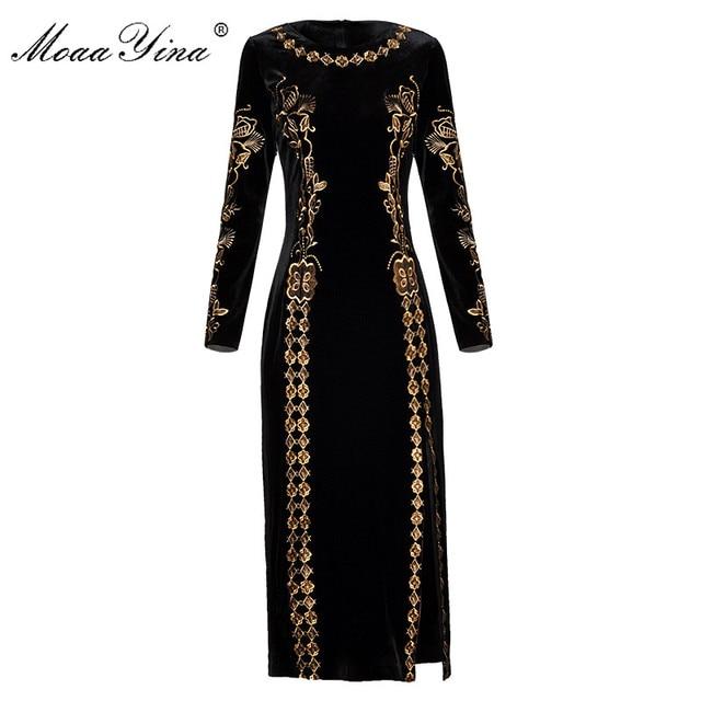 MoaaYina Fashion Autumn Women dress Long sleeve Luxurious Gold Line Embroidery Black Vintage Split Package buttocks Velvet Dress