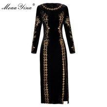 MoaaYina אופנה סתיו נשים שמלה ארוך שרוול לוקסוס זהב קו רקמה שחור בציר פיצול חבילה ישבן קטיפה שמלה